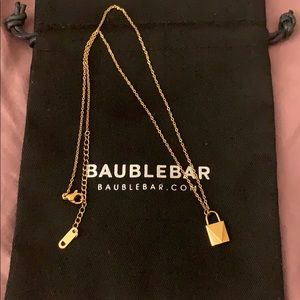 Baublebar gold plated lock necklace
